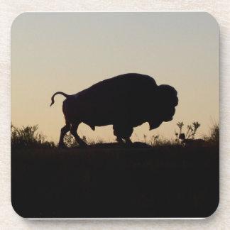 Silueta del búfalo posavasos de bebida