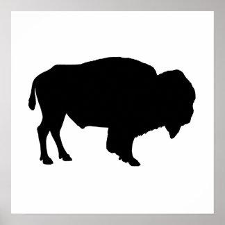 Silueta del búfalo posters