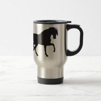 ¡Silueta del caballo - cambie el color de fondo! Taza Térmica