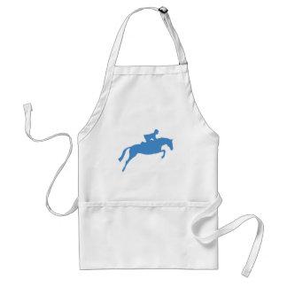 Silueta del caballo del puente azul delantales