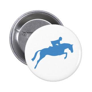 Silueta del caballo del puente (azul) pin redondo de 2 pulgadas