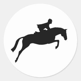 Silueta del caballo del puente pegatina redonda