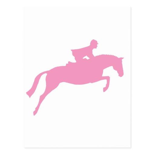 Silueta del caballo del puente (rosa) tarjeta postal