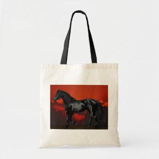 Silueta del caballo en la puesta del sol bolsa tela barata