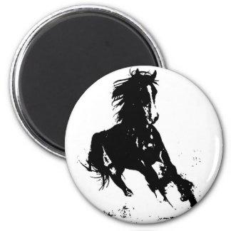 Silueta del caballo imán redondo 5 cm