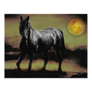 "Silueta del caballo por claro de luna invitación 4.25"" x 5.5"""