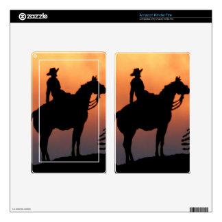 Silueta del caballo y de la puesta del sol del pegatinas skins para kindle fire