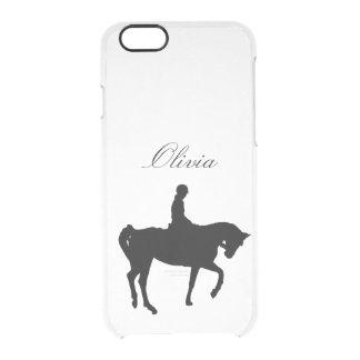Silueta del caballo y del jinete funda clear para iPhone 6/6S