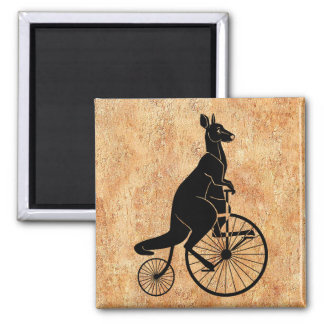 Silueta del canguro que monta una bici imán cuadrado