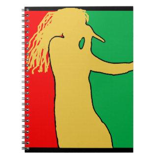 Silueta del cantante de Rasta Spiral Notebook