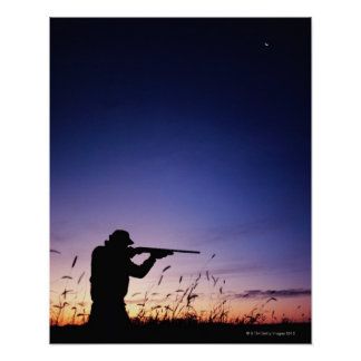 Silueta del cazador póster