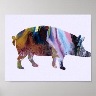Silueta del cerdo póster