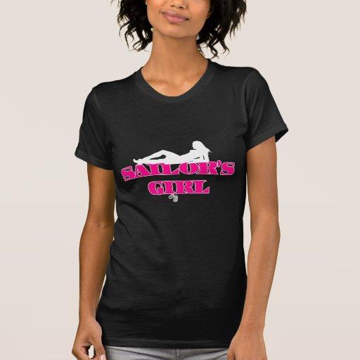 Silueta del chica de los marineros camiseta