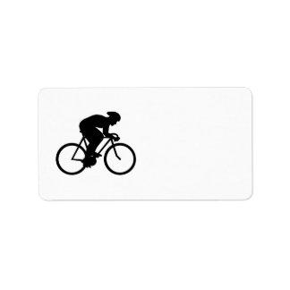 Silueta del ciclista etiquetas de dirección