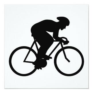 Silueta del ciclista invitación personalizada