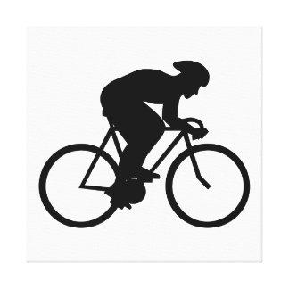 Silueta del ciclista impresiones de lienzo