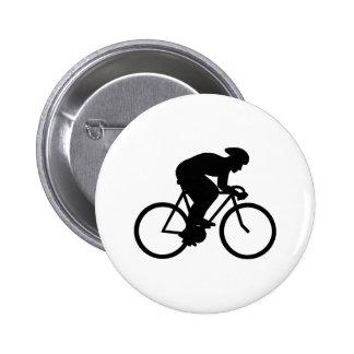 Silueta del ciclista pin redondo de 2 pulgadas