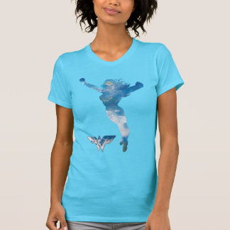 Silueta del cielo azul de la Mujer Maravilla Playera