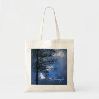 Silueta del cielo azul del árbol de Aspen Bolsa Tela Barata