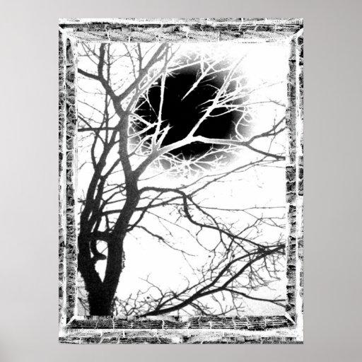Silueta del claro de luna póster