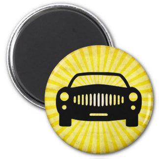 Silueta del coche Amarillo Imán Para Frigorífico