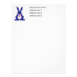 Silueta del conejo, estrellas azules del blanco plantillas de membrete