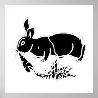 Silueta del conejo póster