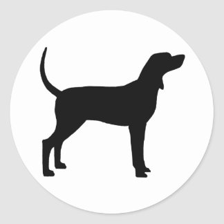 Silueta del Coonhound (negro) Pegatina Redonda