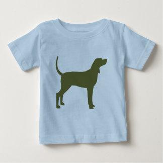 Silueta del Coonhound (verde verde oliva) Remera