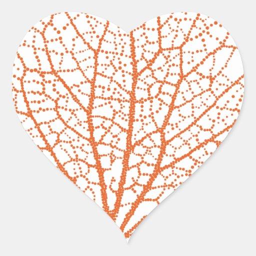 silueta del coral de la fan de Mar Rojo Pegatina En Forma De Corazón