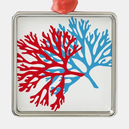 silueta del coral de la fan del azul y de Mar Rojo Adorno Cuadrado Plateado