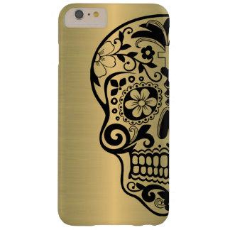 Silueta del cráneo del azúcar en el falso oro funda barely there iPhone 6 plus