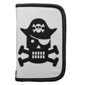 Silueta del cráneo del robot y del pirata de la ba organizador