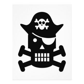 Silueta del cráneo del robot y del pirata de la ba tarjetón