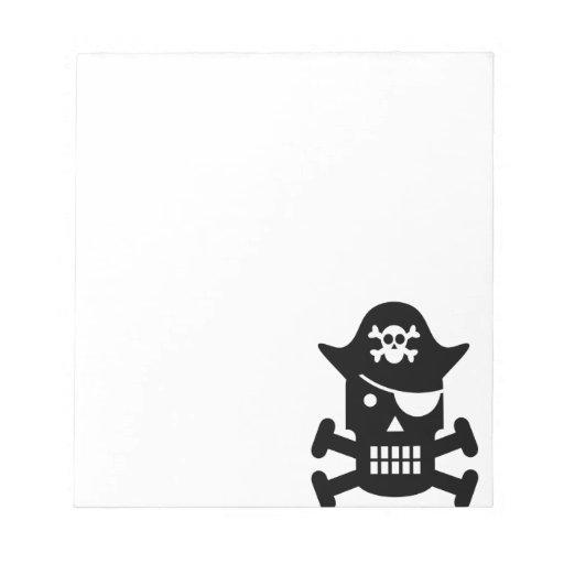 Silueta del cráneo del robot y del pirata de la ba libretas para notas
