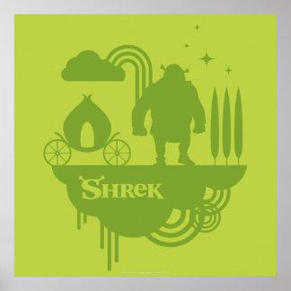 Silueta del cuento de hadas de Shrek Poster