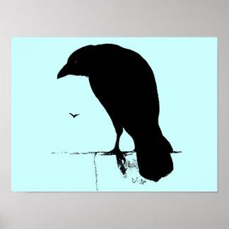 Silueta del cuervo - cuervos y cuervos del gótico  posters