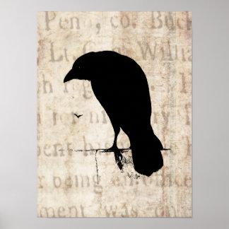 Silueta del cuervo - cuervos y cuervos retros del  posters