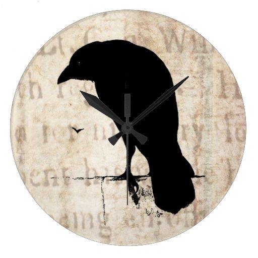 Silueta del cuervo - cuervos y cuervos retros del  reloj redondo grande