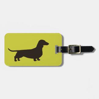 Silueta del Dachshund en el verde (personalizable  Etiquetas Bolsa