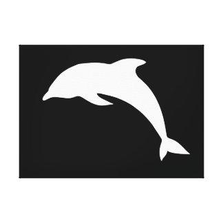 Silueta del delfín de Whtie Impresión En Lona Estirada