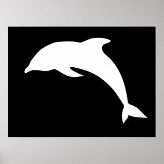 Silueta del delfín de Whtie Poster