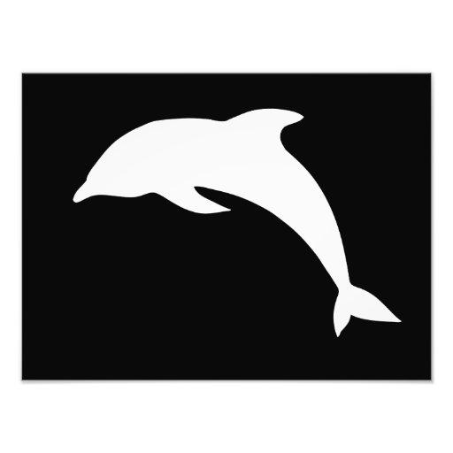 Silueta del delfín de Whtie Impresiones Fotograficas