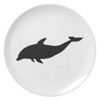Silueta del delfín platos