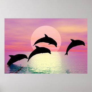 Silueta del delfín póster