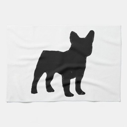 silueta del dogo francés toalla