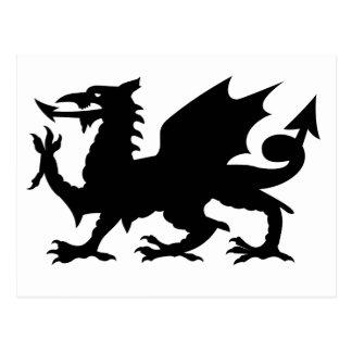 Silueta del dragón Galés Tarjetas Postales