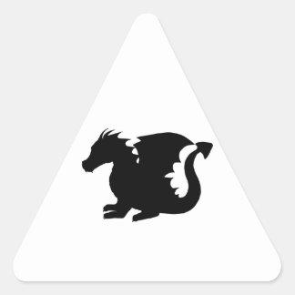 Silueta del dragón pegatina triangular