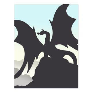 Silueta del dragón tarjeta postal