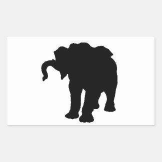Silueta del elefante del bebé del arte pop pegatina rectangular